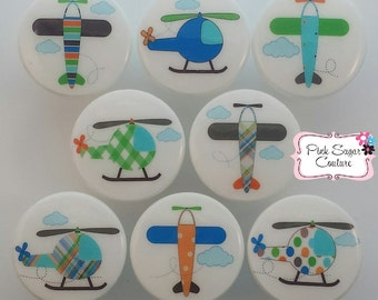 Plane Knobs Helicopter Transportation Drawer Pulls Boys Kids Room Decor WHITE