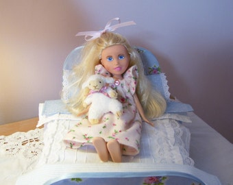 Sweet Little Bed in Shades of Blue and Pink Flowers for Bratz Make Under Dolls, Dal Dolls, and Dolls of Similar Size
