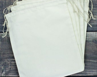 Set of 12 Jumbo 10 x 12 Premium Muslin Drawstring Bags for Favors, Weddings, Parties, or Gifts