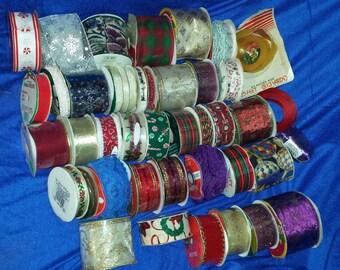 Holiday Christmas ribbon huge lot 36 rolls a large flat rate box destash christmas  vintage big lot holiday ribbon lot/box number 1