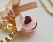 18kt Gold plated Parisian sweets heart macaron charm necklace Food jewelry Eiffel tower jewelry