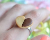 Heart shaped chocolate dipped shortbread cookie ring Scented polymer clay miniature food jewelry