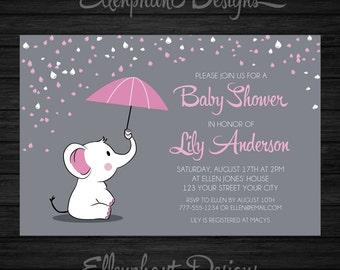 Pink elephant Baby Shower Invitation, umbrella, rain, baby sprinkle, baby elephant, gray, girl, custom invite, digital file, DIY printable