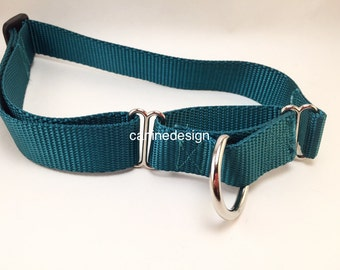 Dog Collar, Choose Your Color, Martingale, Cinch, 1 inch wide, adjustable, nylon