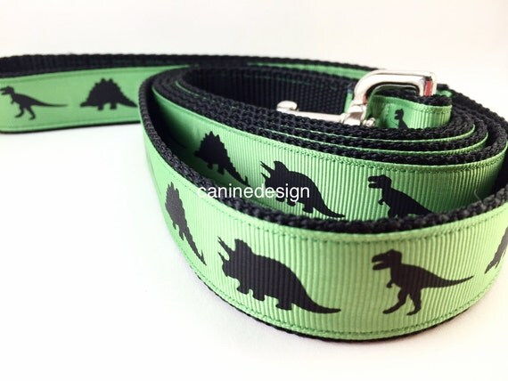 Dog Collar and Leash, Green Dinosaur, Dino,6ft leash, 1 inch wide, adjustable, quick release, metal buckle, chain, martingale, hybrid, nylon