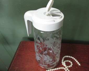 Anchor Hocking Tang Pitcher Quart Jar Frosted Lilies