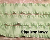 1.5 inch DOUBLE RUFFLE Satin Ribbon- MiNT GREEN 5 YaRDS Great for Hair bows Scrapbooking Crafts