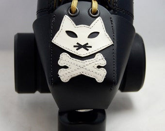 Leather Toe Guards with Cat Skull and Crossbones
