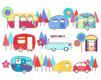 Fun Art Print - colourful print - home decor - mothers day gift - wall art - caravan art - gift for women - 'At The Caravan Park' A4