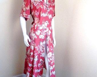 Vintage rayon Dress ,womens Large, 1940s