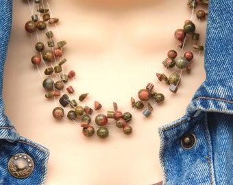 Floating Illusion Gemstone Necklace Unakite Necklace