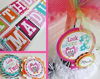 Zebra Print Owl Birthday Party Decorations Fully Assembled