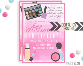 Makeup Birthday Invitation | Digital or Printed | Dress Up Party Invitation | Makeup Invitation |  Make-over Invite | Makeup Spa Theme