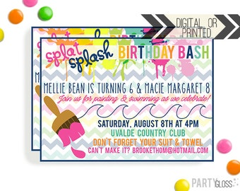 Painting Birthday Invitation | Digital or Printed |  Painting and Swimming Party | Art Invite |  Art Party Invite | Art Birthday Party