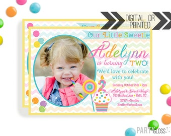 Sweet Shop Birthday Party Invitation | Digital or Printed | Sweet Shoppe Invitation | Cupcake Invitation | Sweet Shop Decorations | Candy