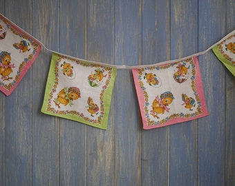 Vintage Linen Bunting. Vintage Bunting // Vintage hankie Garland// Kids Vintage decor// Baby Shower Bunting // Shabby Chic Bunting.