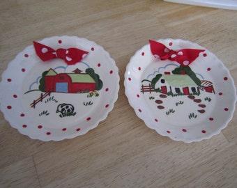 Shabby Chic Scalloped Wall Plates Farm Scenes
