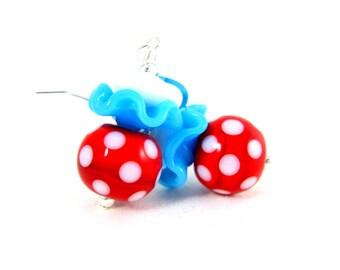 Red White Turquoise Blue Drop Earrings, Polka Dot Dangle Earrings, Ruffle Earrings, Lampwork Glass Earrings, Whimsical Jewelry, Fun Earrings