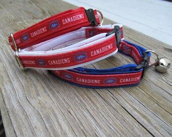 Montreal Canadiens Cat or Small Dog Collar with Red, Blue or White Backing