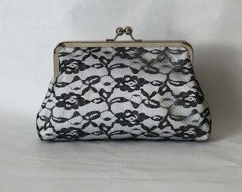 Bridal Clutch - Wedding Clutch - Wedding Purse - Black and White Lace Clutch - Bridesmaids Clutch - Bridesmaids Gift - Isabella Clutch