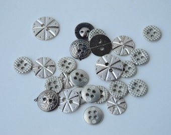 Silver Metal/Metalized Buttons - x 26 - Various sizes & styles