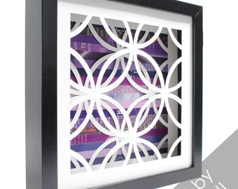 circles pattern shadowbox- made from recycled magazines, modern, pattern, circular