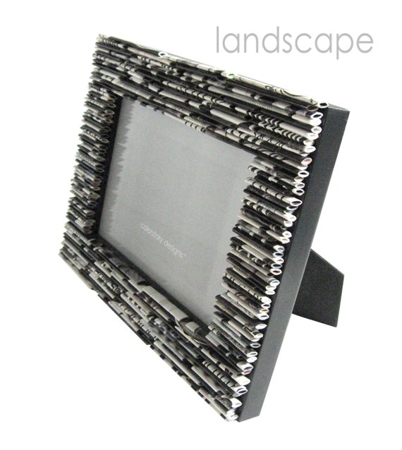 black and white picture frame 5x7 - made from recycled magazines, grey, white, black