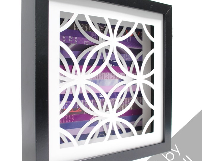 Featured listing image: circles pattern shadowbox- made from recycled magazines, modern, pattern, circular