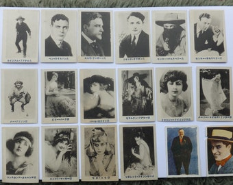 Antique Japanese Set of 18 CaRDs from 1920s - Charlie Chaplin - Silent Movie Actors and Actresses  - FREE SHiPPiNG!!!