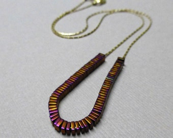 Titanium Pyrite Necklace. Gold Plated Chain. Beaded Necklace. Copper Violet. Stay Focused Necklace. Handmade Necklace.