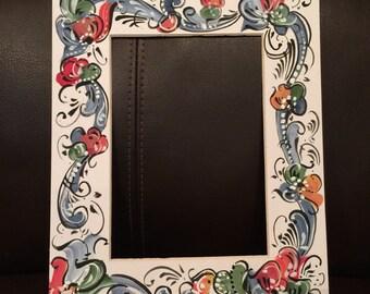 Norwegian rosemaled picture frame mat