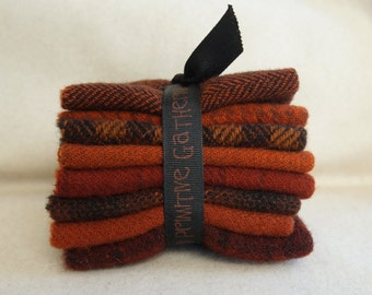 Primitive Gatherings Rust Hand dyed felted wool in a range of Rust tones perfect rug hooking and applique wool