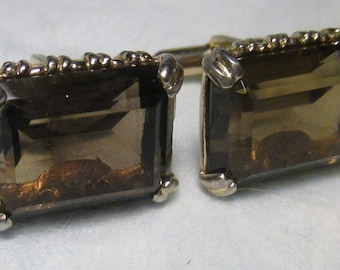 1960s - 1970s Smokey Stone OR Glass Cufflinks Mens Jewelry Faceted Design