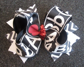 ABC Back to School Large Boutique Hair Bow Layers of Loops Red Chalkboard Sparkle Apple for Baby Toddler to Little Girl