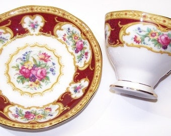 Royal Albert, Bone China, Lady Hamilton, 24 Karat Gold Trim, England, Teacup, Cup and Saucer, Burgandy, Collectible, Dishes, , Free Shipping