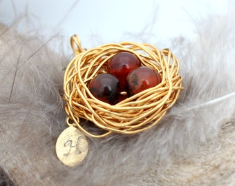 Personalized bird nest necklace with three carnelian eggs and initial charm- gold plated woven wire- July birthstone- crystal healing