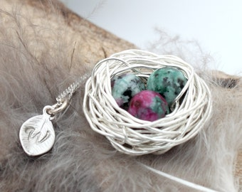 Personalized bird nest necklace with three ruby in zoisite eggs and initial charm- silver plated woven wire- July birthstone crystal healing