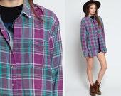 90s Plaid Shirt Green Flannel Shirt Grunge Button Up Purple Retro 1990s Lumberjack Vintage Men Oversize Checkered down men Extra Large XL