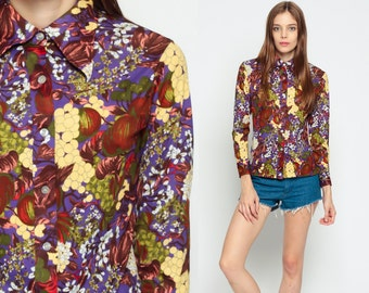 Boho Blouse BERRY APPLE Fruit Top 70s Novelty Floral Bohemian Button Up Disco Shirt 1970s Hippie Long Sleeve Vintage Hipster Red Small