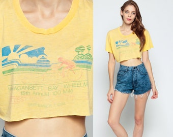 Bicycle Tshirt Bike Shirt 80s Cropped Shirt T Crop Top Vintage Print Graphic T shirt Paper Thin Burnout 1980s Retro Yellow Medium Large