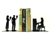 Piano Player Metal Art Bookends - Free USA Shipping