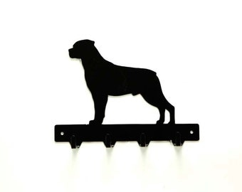 Rottweiler Metal Art Dog Leash or Key Rack - Free USA Shipping