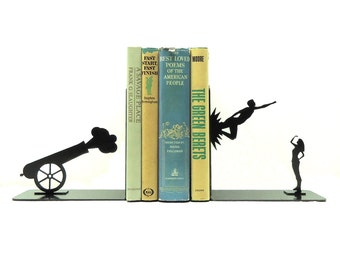 Shot Out Of A Cannon Metal Art Bookends - Free USA Shipping