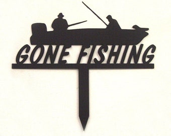 Gone Fishing Metal Art Garden Sign - Free USA Shipping