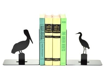 Pelican Egret Metal Art Bookends - Free USA Shipping