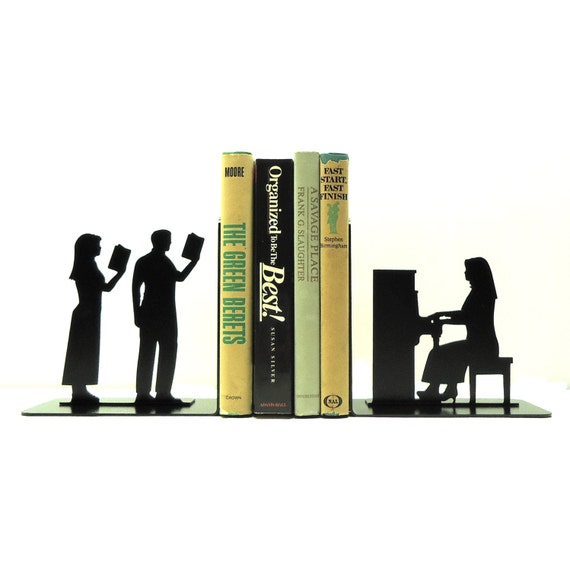Piano player metal art bookends free usa shipping - Piano bookends ...