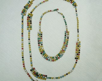 Vintage Multi Colored Bead Necklace and Belt Set