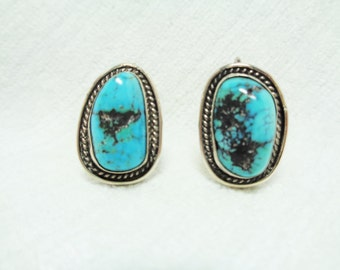 Vintage Sterling Silver Turquoise Screw Back Earrings