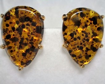 Large Lucite Tear Drop Shaped Amber and Black Clip On Earrings