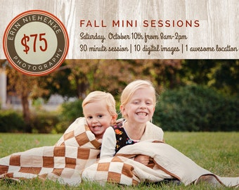 Marketing for Photographers - Warm Wooden Fall Mini Session Digital Photoshop Template